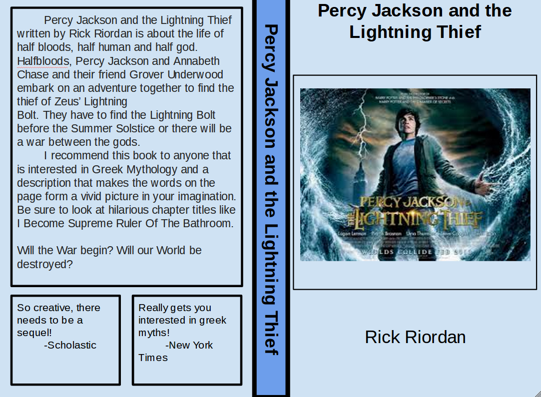 book review the lightning thief Listen to our first book review by a barr student eli breaks down the percy jackson series while infusing some of his personal humor this bare bones podcast will provide voice to middle school students we will begin with the opportunity to review books they are currently reading during.